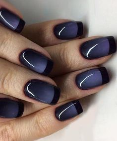 Cute Night Phase Blue Black Nail Art Designs for Prom