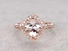 Morganite Bridal Ring,Engagement ring,14K&18K Rose/Yellow/White Gold Available. Every Jewelry in my store needs making to order.If you have the stone,you can ask us custom make this setting.[Item details]Engagement Ring:Solid 14K Rose Gold(Can be made in white/yellow/rose gold)Band Width approx 1.2mmSize 5#(Ring can be resized)8mm Cushion Cut 2.3ctw VS Pink Morganite0.14ctw Round Cut SI-H Natural Conflict Free Diamonds.Prong,Pave SetEstimated Retail Price: $1500The...