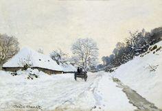 """Storia, analisi e descrizione di un'importante opera di Monet: il quadro """"Il calesse"""" (Strada coperta di neve a Honfleur). Il dipinto è esposto a Parigi."""