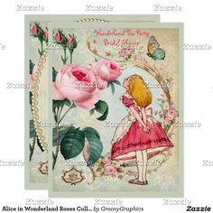 Alice in Wonderland Roses Collage Bridal Shower Card