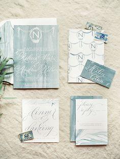 Elegant Calligraphy and Watercolor Wedding Invitation | Krista A. Jones Fine Art Photography | Artistic French Blue Wedding