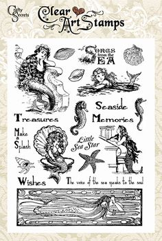 Mermaid rubber stamps by Crafty Secrets clear art stamp set