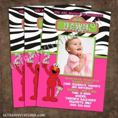 Perfect for the little girl in love with the sesame street character of elmo, with her photo and personalized wording.