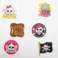 "Pink Pirate Party Girl's Glitter Tattoos - Pack Of 36 by Century Novelty. $9.77. Assorted Styles. Pack Of 36 Pink Pirate Tattoos. Girl's Temporary Fun Party Tattoos. Great Pirate Party Favors ! Fill your goody bags with pirate favors and toys like the pirate girl glitter tattoos. These Pirate party favors are sure to make your  guests feel like they've found the pirate's loot. 36 tattoos per package. Assorted pink pirate skull styles. Approx. 1 1/2"" long and wide tattoos...."