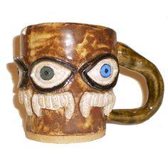 Eye Cup 32  Handbuilt coffee mug with pattern by aberrantceramics