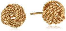 A pair of elegant knot earrings that come in silver, rose, and yellow gold.