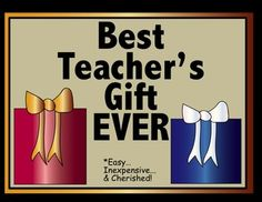 Want to give your child's teacher the BEST gift ever?   It's inexpensive, easy, and will be treasured by the recipient!   The Best Teacher Gift EVER is a collection of recipes- from students.   This product contains the letter and recipe cards to make this class gift even easier.