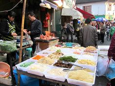 A traditional meat and produce market located in the backstreets near the Yuyuan Gardens, Shanghai