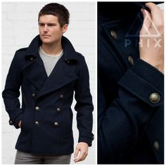 Today's Daily Phix: Men's Navy Military Wool Pea Coat...  Last few remaining - £70