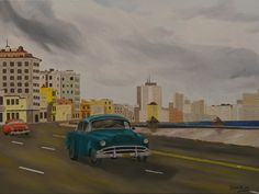 """Oil painting titled """"Vintage Cuba - Malecon & Havana Skyline"""", done on an 18"""" x 24"""" x 1.5"""" canvas.  SOLD"""