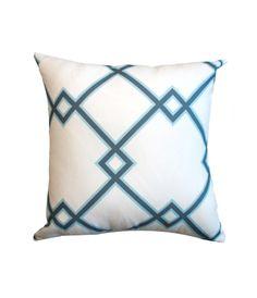 Blue trellis pillow cover, $38.