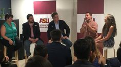 "Jeff Kassing, Arizona State University professor of communications, speaks during the ASU-hosted panel ""Do Sports Unite or Divide Us?"" June 8 in Mexico City. The other panelists were (from left): Irma Cuevas, Mexican sports journalist; Carlos Bravo Regidor, political columnist and journalism program director at Mexico's Centro de Investigación y Docencias Económicas think tank; Andrés Martínez, panel moderator and special adviser to ASU President Michael Crow; and Victoria Jackson, ASU…"