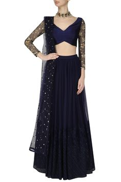 Darkslate blue embroidered lehenga set available only at Pernia's Pop Up Shop.