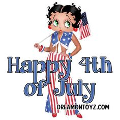 Happy 4th of July  ☆ More Betty Boop graphics & greetings: http://bettybooppicturesarchive.blogspot.com/ ~And on Facebook~ https://www.facebook.com/bettybooppictures Patriotic #BettyBoop dressed in red, white and blue holding the American flag #greeting
