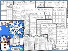 PREP LESS Winter Math - Over 30 Kindergarten Math Activities for Winter!  50% off until November 15!