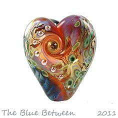 Lampwork Glass Heart Bead by BlueBetween, via Flickr