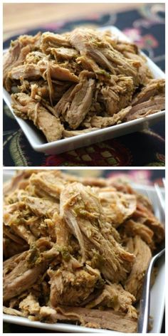 Amazing-sounding Crock-Pot Green Chile Pulled Pork from Barefeet in the Kitchen; this has roasted chiles and many other southwestern flavors.  Mary says her family has enjoyed this spicy pork for sandwiches, salads, burrito bowls, tacos, and taquitos, as well as just eating the meat alone.  [Featured on SlowCookerFromScratch.com] #LowCarb #SlowCooker