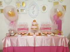 Princess themed dessert table #desserttable #cakes #cupcakes #macarons