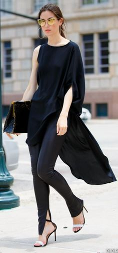 Nini Nguyen Black High  Low One Shoulder Asymmetrical Cape Dress
