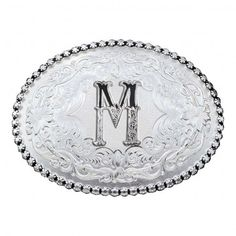 Initial M Antique Silver Western Belt Buckle (6189M) - Western Buckles - Buckles | Montana Silversmiths