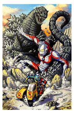 Godzilla vs Ultraman vs Kikaider by KaijuSamurai.deviantart.com on @DeviantArt