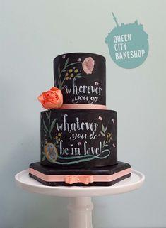 Hand-painted chalk board wedding cake