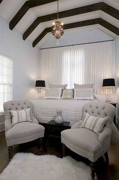 love the beams and relaxing color palette