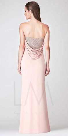 Strapless Beaded Pleated Bust with Cowl Back Evening Dresses by LM Collection
