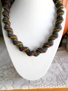 Cellini colorful spiral necklace Beautiful color combinations.