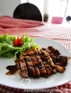 Brisando na Cozinha: Tonkatsu (lombo suíno empanado) ao molho oriental