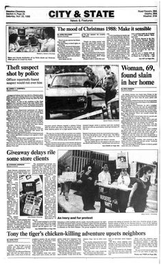 Houston Chronicle inside page - November 26, 1988 - section A, page 25. The mood of Christmas 1988: Make it sensible