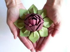 Paper Craft Flowers - How to Fold an Origami Lotus Blossom