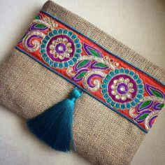 Linen Clutch with Trim and Tassel