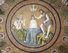 Italy, Ravenna the Baptism of Christ century Byzantine mosaic in the Baptistry of Arians Byzantine Icons, Byzantine Art, Byzantine Mosaics, Roman History, Art History, Ravenna Mosaics, Roman Mosaics, Baptism Of Christ, Jesus Christ