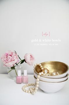 DIY gold and white bowls!