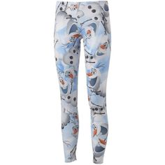 Mighty Fine Disney Frozen Olaf Leggings ($18) ❤ liked on Polyvore featuring pants, leggings and legging pants