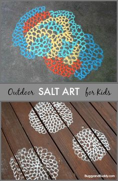 Outdoor Process Art for Kids Using Colored Salt- Head outside and create all kinds of patterns, designs, and pictures using colored salt! (Inspired by the artist, Motoi Yamamoto) Cool Art Projects, Projects For Kids, Crafts For Kids, Summer Crafts, Summer Art, Summer Kids, Summer Club, Salt Art, Kids Inspire