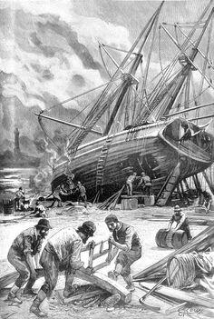 The Illustrated Jules Verne: Le Phare du bout du monde Jules Verne, Sailboat Art, Nautical Art, Plane Photos, Science Fiction, Pirate Art, Amiens, Wooden Ship, Set Sail