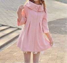 women's Princess style pink cape Fitted Wool Coat von colorfulday01, $49.99