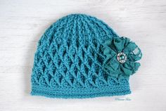 Petrol Green Crochet Girls Beanie Baby Girl Hat by PrincessTaraCo