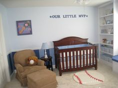 Blue Striped Baseball Themed Nursery! Lots of cute baseball nursery ideas!!