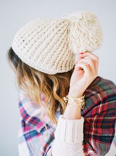 89a3bd1089c must-have winter accessories  oversized pom-pom beanie and plaid scarf Cozy  Winter