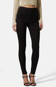Topshop Moto 'Joni' High Rise Skinny Jeans (Black)