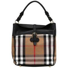 Pre-owned Burberry Medium Buckle Detail House Check Hobo Shoulder Bag