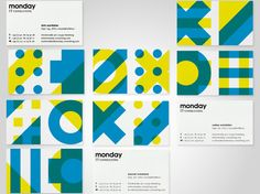 """EIGA – Monday Consulting brand identity. """"The combination of forms stands metaphorically for the constantly newly emerging program code and is our tool to create a distinctive profile in the market and a clear differentiation from the competition. The living Monday brand is intended to become especially attractive for potential employees."""""""