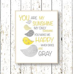 Yellow and gray nursery wall art - You are my Sunshine - Art for children - Birds Kids wall art - Playroom art - Family Room - baby art on Etsy, $14.81 CAD