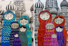 Russian nesting dolls in front of Saint Basil's Cathedral in Moscow Russia Art Lessons For Kids, Art Lessons Elementary, School Lessons, Kindergarten Art, Preschool Art, Art 2nd Grade, Club D'art, Classe D'art, Cultural Crafts