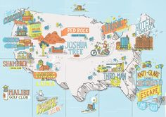 Foldable map of the USA for Rayban's 'Escape the Lime-light' campaign, featuring sites across america where 'Rock Royalty' go to hide out.