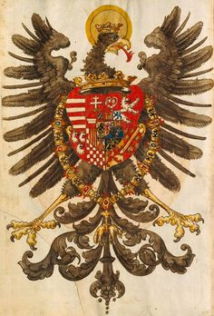 Ferdinand I. als deutscher König (f°VIIIv) -- Wappenbuch, [S.l.] Süddeutschland, 1. Hälfte 16. Jh. [BSB-Hss Cod.icon. 392 d].
