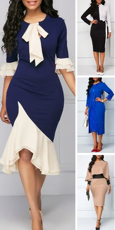 Add some color to your holiday wardrobe with these stunning dresses from Rotita.Lace sleeves and a tiered hem add to the flair of this trending style. Latest Dress For Women, Office Dresses For Women, Latest African Fashion Dresses, African Dresses For Women, African Attire, Dresses For Work, Clothes For Women, Classy Dress, Classy Outfits